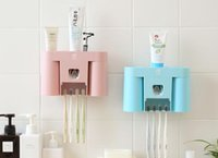 Wholesale Creative toothbrush holder bathroom wash suit Cups teeth with toothpaste dispenser wall mounted rack