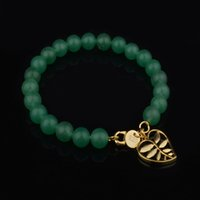 beaded hooks - 18K Gold Plated Beads Bracelet New Fashion Natural stone Bangles Elastic Rope Chain yoga Bracelets For Women High quality Jewelry