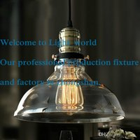 Wholesale Designer Lights American Village Retro Industry Loft Creative Style Restaurant and Bar Single head Glass Pendant Light with plated lamp base
