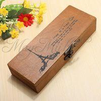 Wholesale Retro Eiffel Tower Wood Wooden Pen Pencil Case Holder Stationery Box Storage SC2