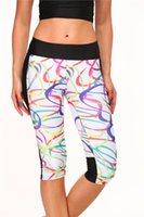 apparel band - New Women s Athletic Apparel Contrast colorful rainbow band printed Cropped Capris Leggings Fitness GYM Mesh Yoga Pants