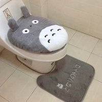 Wholesale 2016 new type two piece cartoon totoro toildet seat covers pan cushion pads plush soft warm totoro toilet mat cover