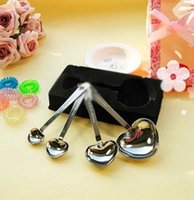 Wholesale Heart Wedding Spoon Measuring Spoons Stainless Spoon Retail Favors LOVE New Gift Spoons Set Wedding Favors LOVE Gift Box