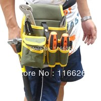 bench kit - Fashion Yellow Men s Waist Canvas Tool bag W Belt for Electrician Bench Worker s tools kit Multi Pockets Organizer