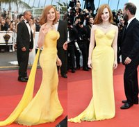 Wholesale Jessica Chastain YelLow Celebrity Dresses Cannes Film Festival Sweetheart Ruched Chiffon Sheath Floor Length Red Carpet Evening Gowns