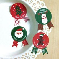 Wholesale 800pcs Merry Christmas Badge Shape Sticker Adhesive Paper Label Bakery Gift Bag Box Decoration