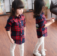 Wholesale 2016 New Autumn Girls Plaid Shirt Baby Kids Long Sleeve Letters Printed Turn down Collar Tops Blouse Casual Shirts Children Clothing