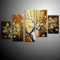 beauty wall lights - 100 hand painted oil wall art beauty bright light on scenery home decoration Modern Abstract oil painting set