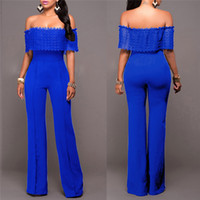 Wholesale New arrival Blue Full Strapless Party Bodysuit Bodycon Jumpsuit Overalls rompers womens jumpsuit sexy loose strapless Bodysuit Party