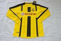 Wholesale new Germany Borussia Dortmund long sleeve Thai version home away men short Jerseys shirts Reus Aubameyang Ramos Kagawa Sahin