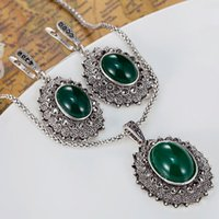 antique emerald earrings - Brand Emerald Jewelry Sets Fine Women Wedding Accessories Fashion New Turkish Pendant Earring Jewelry set Antique silver Jewelry