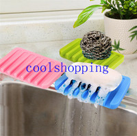 Wholesale Fashion Silicone Flexible Soap Dish Plate Bathroom Soap Holder Soapbox Tray Drain