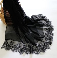 Wholesale 200X65CM Women Fashion Silk Scarf Lace Patchwork Scarves Mulberry Silk Hijabs Facecloth from China Silk World