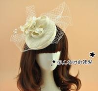 banquet fascinator - Beige Bridal Hats Continental Linen Bridal Hair Accessories Lace Flowers Wedding Hat Headdress High end Banquet Studio Accessories