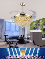 art deco fan - Modern Led Crystal Fan Lamp Retractable Ceiling Fan With Lights Ventilador Techo Folding Ac v Remote Control Art Deco Room MYY