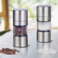 Wholesale Brand New Stainless Steel Manual Salt Pepper Mill Spice Sauce Grinder for Cooking Tools Silver JJA39