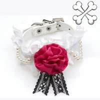 big dog bling - Big Bow Bling Pets Pu Collars Luxury Dog Collar Lace Flower Pets Party Collar For Grooming