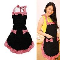 Wholesale New Cute Bib Apron Dress Flirty Vintage Kitchen Women Bowknot with Pocket Gift