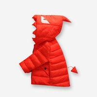 Wholesale Winter Children Kids Outdoor Jacket Cartoon Monster Hooded Down Jacket with Eyes and Tail Boys and Girls Coat Snowsuit Clothing