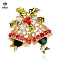 Wholesale The new series of Christmas bells KC gold jewelry full diamond brooch jewelry and selling styles