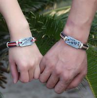 Wholesale Genuine Leather Couple Bracelet DIY lovers arrow through a heart dog tag charm Bangles Vintage Cuff Bracelets Valentine s Day gift