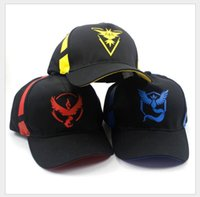anime snapbacks - High Quality Poke Hats Team Mystic Instinct Valor Ball caps pokémon go Costume Snapbacks Cartoon Adult baseball hockey Athletic Hat