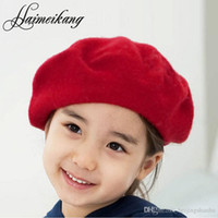 Wholesale 2016 New Wool Beret Kids Girl Casual Chirlder Boina Black Red Grey Hat the Dome Cap Buds Hat for Beret