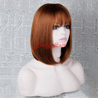 Wholesale New Arrival Bob Wig Heat Resistant Synthetic Hair Short Straight Wigs with Full Bangs for Black Women Cheap Cosplay Wig