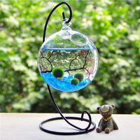 iron shelf bracket - 1Pcs Semicircle Iron Shelf Micro Landscape Bottle Glass Ball Hanging Bracket Stand Rack Hook Hanger DIY Cabin Hook