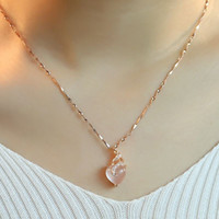 artificial plants singapore - JPF ROSE GOLD silver artificial Hibiscus stone lady Pendant Chain Necklace female heart shaped clavicle