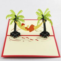 beach batch - 20 pieces life Tropical Seaside Coconut Beach Greeting Card Tourism Scenery Paper Cards Support Mixed Batch