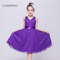 beauty fabric belt - beauty pageant child and girls dresses party designer dresses Purple V neck sleeveless style Belts decoration Lace fabric
