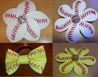 baseball clips - 2016 Softball Flower mixed style Softball Flower Accessory and hair clip softball hair bows softball hairbow baseball hairbow