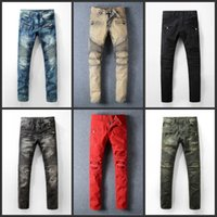 bicycle old - Senior designer balmain jeans men s fashion jeans machine stamp zipper needle hole Restore ancient ways do old bicycle jeans