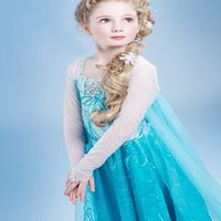 frozen costume - Frozen Elsa Queen princess cosplay dresses kids halloween costumes for girls evening party dresses lace children maxi dresses