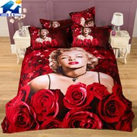 Cheap Red roses Marilyn Monroe 3d bedding sets 4pcs 100%cotton for king queen size bedclothes duvet cover quilt bed linen comforters