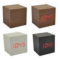 antique desk calendar - Wood Cube LED Alarm Control Digital Desk Clock Wooden Style Room Temperature Many Colors