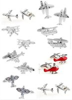Wholesale Promotion Plane Cufflinks hot seller silver color fashion silver airplane design copper material