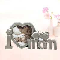 Wholesale New Baby Shower Souvenir Metal Heart Love Mom Baby Photo Frame Favors Event Party Supplies