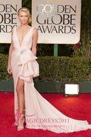 Wholesale Theron Sexy Plunging Pink Prom Dresses Sheath Celebrity Evening Formal Gowns Red Carpet Deep V Neck Split Celebrity Dress