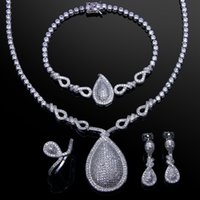 Wholesale DC1989 Wedding Attractive Big drop set Necklace Bracelet Earrings Free size Ring Platinum plated White CZ SN02489S4R