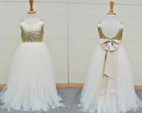 baby blue dresses for juniors - Gold Sequins Flower Girls Dress Baby Infant Toddler Kids Dress Junior Floor Length For Wedding Pageant Tulle Gowns