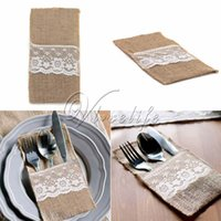 Wholesale Top quality One quot x quot Hessian Burlap Lace Wedding Cutlery Holder Pouch Rustic Wedding Party Xmas Event Home Supply Decor Accessories Favor