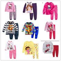 Wholesale Girls Boys Baby Mickey Minnie Mouse Princess Sofia Hello Kitty Pajamas sets children Boy s Girl s cartoon pyjamas kids sleepwear homewear