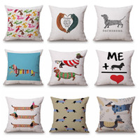 bedroom paint color - 2017 New Style Dachshund Christmas Festival Cushion Cover Sofa Pillow Case Sausage Dog Oil Paint pillow cover Bedroom Sofa decoration