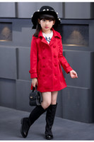 Wholesale New Girl Coats Autumn spring Bow Outwear Long Children Windbreaker Jacket Baby Girls Double breasted Trench Coat Kids Jackets Outerwear