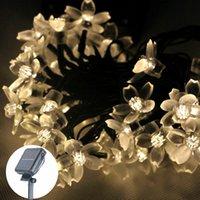 Wholesale M LEDS Sakura Flower Solar Lamp led String Lights Solar fairy light Christmas Garland Garden party Decor Waterproof outdoor