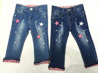 baby groups - Baby Kids Girs Jeans Pants Baby Group MOS T Trousers Elastic Jeans Denim Elastic Waist Destoryed And Hot Drilling Jeans