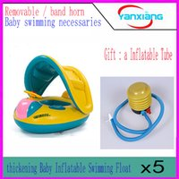 Wholesale 5PC Safety Baby Sport Inflatable Swimming Water Float with Adjustable Sunshade Seat Boat Ring Swim Pool YX YQ