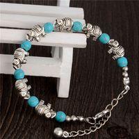 turquoise beads - Tturquoise elephant charm bracelets turquoise Beads bracelets fashion jewelry green retro bracelet silver plated TB0003
